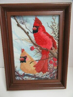 Finished Crewel Embroidery Windy Cardinal Bird Red Gold Completed 5x7 Framed
