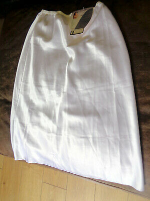 Ladies Gorgeous Glossy Vtg St Michael White Satin  Half Slip Size 12/14 Bnwt