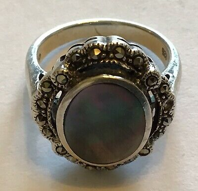 Vintage Charles Winston Signed Sterling Silver Abalone Marcasite Ring Size 5.75
