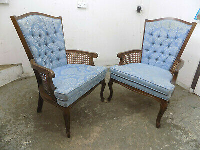 pair,two,Louis,wood framed,bergere,vintage,repro,antique,arm chairs,armchair