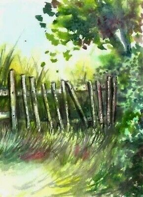 ACEO fence woodland painting original landscape watercolour art card