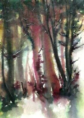 ACEO woodland trees painting original absrtact landscape watercolour art card