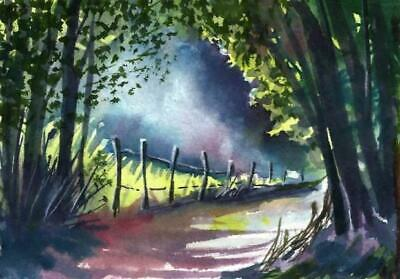 ACEO woodland fence painting original road landscape watercolour art card