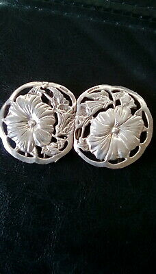 solid silver art nouveau style nurses belt buckle london 1994  vintage