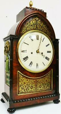 Antique English Regency 8 Day Twin Fusee Mahogany & Inlaid Boulle Bracket Clock