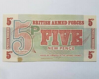 British Armed Forces 6Th Issue 1972 Five Pence Note Ef-Uncirculated