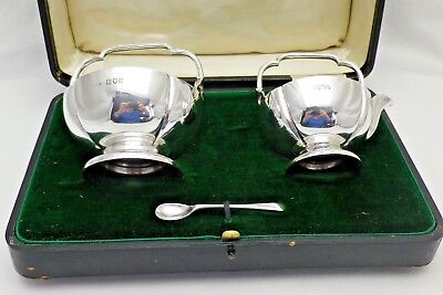 Antique Sterling Solid Silver Cased Cream Jug & Sugar Bowl 1914 (995-9-ASY)