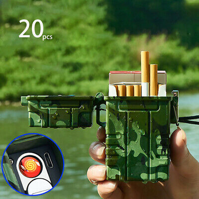 Outdoor Sealed Waterproof Cigarette Case Tobacco Storage Box Holder USB Lighter