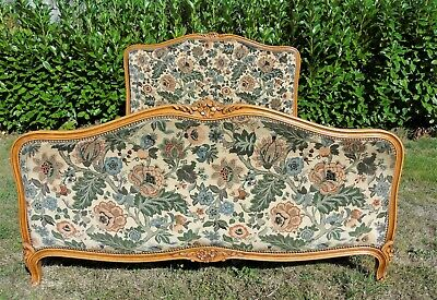 French Bed Double Bed Vintage Antique Capitonne Style Carved Wooden Frame