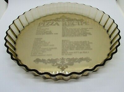 Vintage Retro 1970s Arcopal Smoked Glass Fluted Pizza / Flan Dish - 28 cm