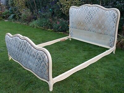 French Bed Double Bed Vintage Antique Capitonne Style Carved Cream Frame
