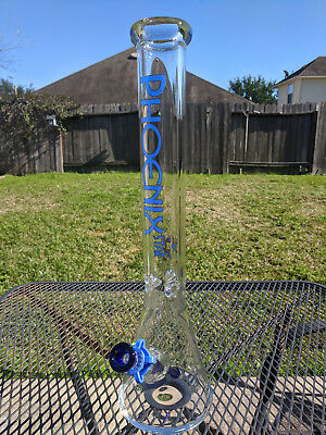 "Glass Beaker Water Pipe Bong - 18"" Inches Tall (XL) - 14.4mm - Phoenix - Blue"