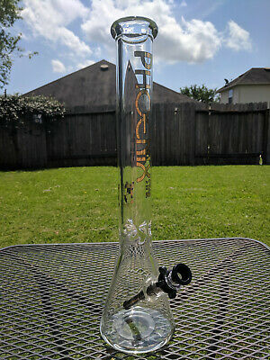 "Glass Beaker Water Pipe Bong - 18"" Inches Tall (XL) - 14.4mm - Phoenix - Black"