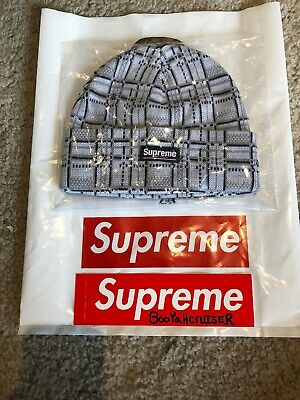 f24c148b221c Supreme Plaid Beanie White New DS In Hand FW18 Rare Sold Out Ships Free