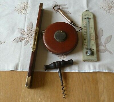Joblot Of Antique/Vintage Items-Spirit Level, Thermometer, Tape Measure, Scales