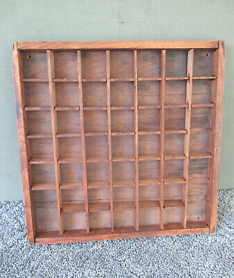 Antique Type Tray Vintage Primitive Printers Drawer Shadow Box, 45 Sections