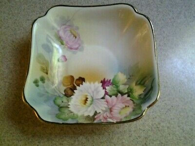 Vintage Chikaramachi Hand Painted Bowl Floral Gold Trim Made in Japan