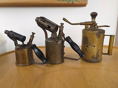 3 X Vintage Manual Gas Blow Lamps / Blow Torches