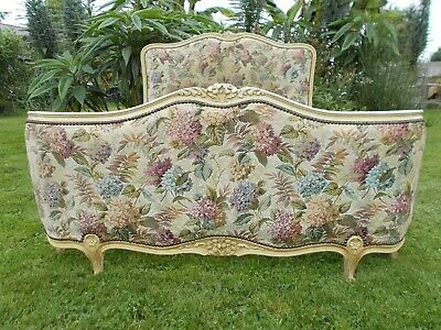 French Bed Double Bed Vintage Antique Demi Corbeille Style Floral Linen Fabric