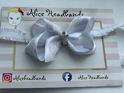 Baby Girl White Christening Headband Baptism Wedding Lace Pearl Hairband 7cm Bow