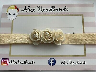 Ivory Flower Bow Baby Newborn Hair Band Baptism Wedding Christening Photo Prop
