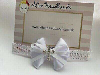 Baby Girl White Christening Headband Baptism Wedding Small Bow Cross Hairband