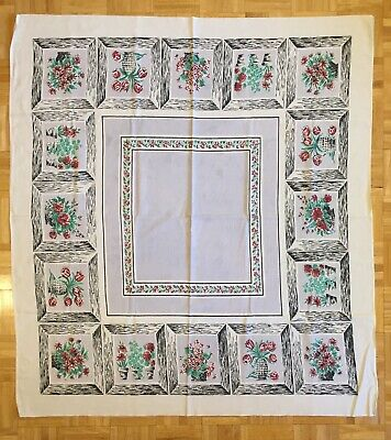 "VINTAGE TABLECLOTH FLORAL THEME, 48"" x 52"", cotton: lilac, red, green & black"