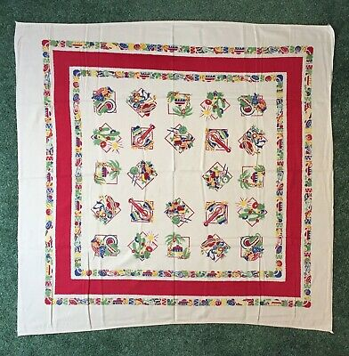 "VINTAGE SOUTH WEST / MEXICAN THEME TABLECLOTH 47"" x 48"", vibrant colors"
