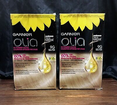 2 Garnier Olia Permanent Oil Powered Hair Color, # 9G Light Greige