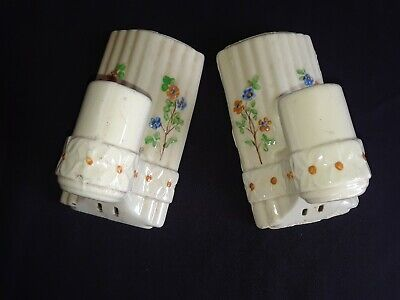 Pair Vintage Art Deco Porcelain Wall Mount Sconces Light Fixtures, Pull Chains