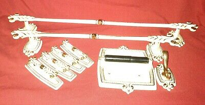 Vtg Hollywood Regency Brass White 2Towel bars & 4 Drawer pulls &TP Holder & Hook