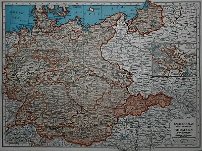Vintage 1943 Atlas Map WWII Germany, Spain, Portugal OLD Europe World War II Era