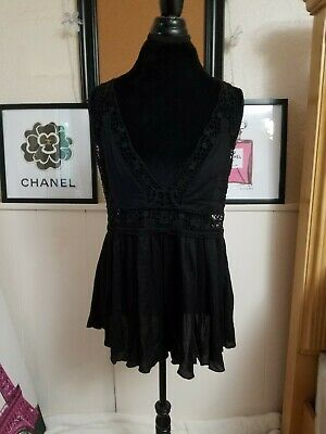 Free People Intimately Black Romper Size Small