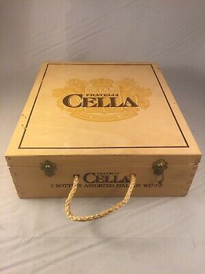 """WOODEN WINE BOX Fratelli Cella Italy 3 Bottle Hinged Top Rope Handle 10.5x12x4"""""""