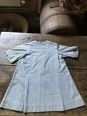 BEST Antique Little Girls Blue Homespun Handmade Dress Textile AAFA A+ Cond