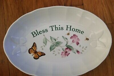 """Lenox Butterfly Meadow """"BLESS THIS HOME"""" Tray Butterflies Blooms Louise Le Luyer"""