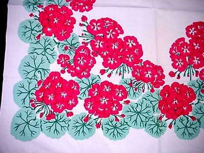 Vintage RED GERANIUM Printed Cottage Tablecloth FLORAL GARDEN CLASSIC Rare Find