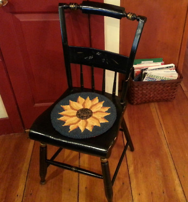 """""""Evening Sunflower"""" - Chair Pad - 12"""" Rug Hooking Kit-Round"""