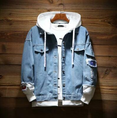 Mens Retro Hooded Denim Ripped Jeans Jacket Casual Coat Slim Fit Spring Autumn