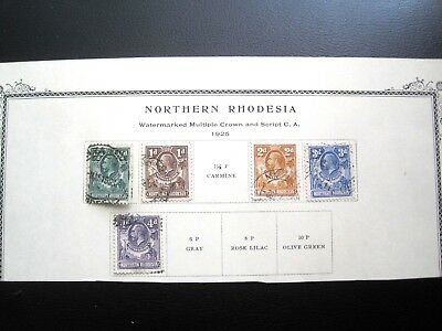 NORTHERN RHODESIA : 5 STAMPS 1925 (Used)