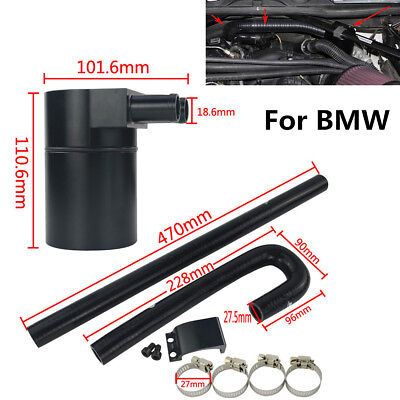 Black Aluminum Alloy Reservoir Oil Catch Can Tank With Radiator Hose For BMW N54