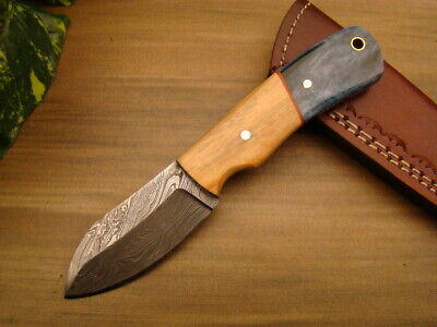 Custom Handmade Damascus Steel Hunting Full Tang Knife - Olive Wood - B-7337