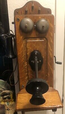 Vintage Antique Kellogg Hand Crank Wall Telephone Phone Wood Case NICE