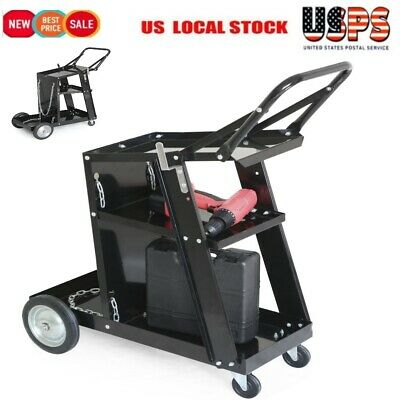 Welding Welder Cart MIG TIG ARC Plasma Cutter Tank Storage without Drawer Black