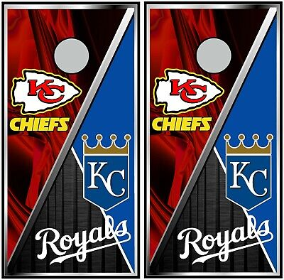 KC Chiefs & Royals 0534 cornhole board vinyl wraps stickers posters decals
