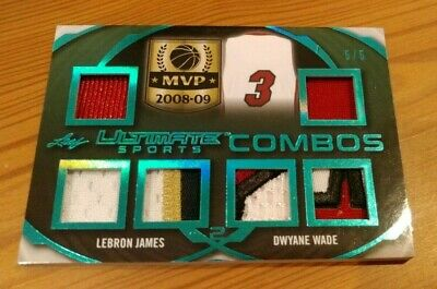2019 Leaf Ultimate Sports LEBRON JAMES - DWYANE WADE Combos Game-Used Patch 5/5