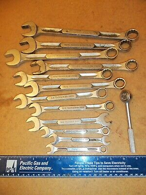 "13 piece THORSEN tools USA SAE Combo Wrenches 3/8"" to 7/8"" & 1/4"" drive ratchet"
