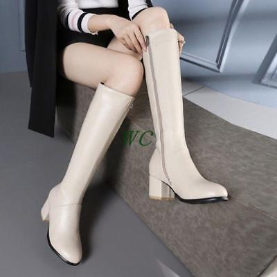 Womens Round Toe Side Zip PU Leather Chunky Heel Knee High Boots Casual Shoes Sz