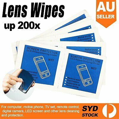 100/200 Glasses Lens Cleaning Wipes Camera Optical Pre-moistened Cleaner Screen