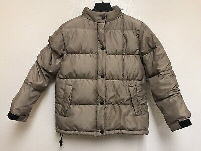 Women's GAP Taupe Down Puffer Jacket Coat Parka Hooded Zip Quilted Winter SZ XS